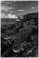 New coastal lava flow. Hawaii Volcanoes National Park, Hawaii, USA. (black and white)