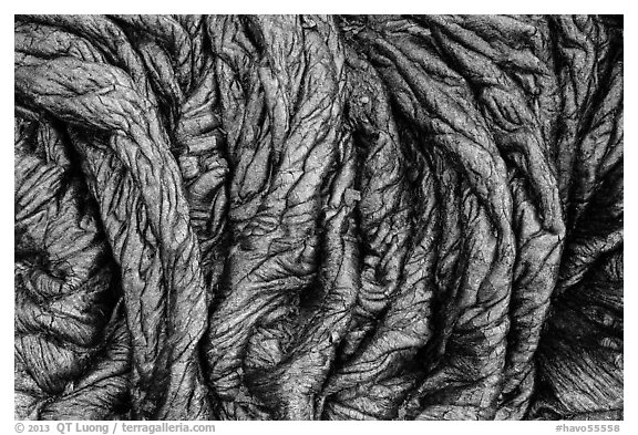Freshly hardened pahoehoe lava. Hawaii Volcanoes National Park (black and white)