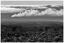 Halemaumau plume spread by trade winds. Hawaii Volcanoes National Park ( black and white)