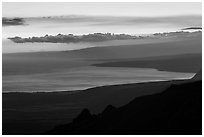 Coastal plain, bay, and Mauna Loa flank at sunset. Hawaii Volcanoes National Park, Hawaii, USA. (black and white)