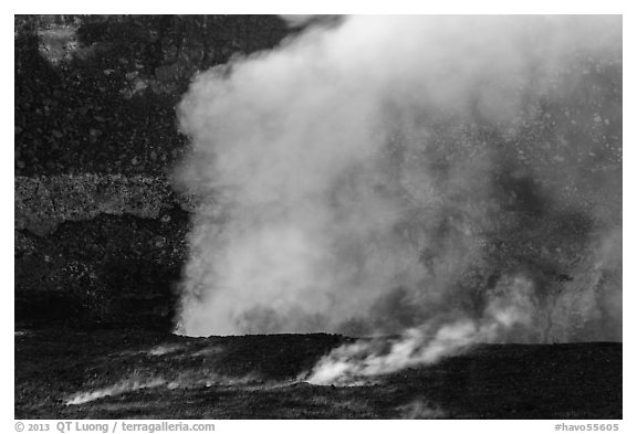 Fumeroles and plume from Halemaumau lava lake. Hawaii Volcanoes National Park (black and white)