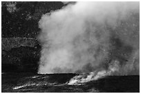 Fumeroles and plume from Halemaumau lava lake. Hawaii Volcanoes National Park ( black and white)