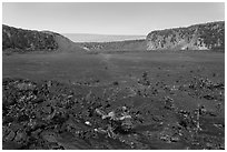 Kīlauea Iki crater floor. Hawaii Volcanoes National Park, Hawaii, USA. (black and white)