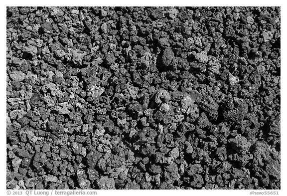 Ground close-up with multicolored lava, Mauna Loa. Hawaii Volcanoes National Park (black and white)