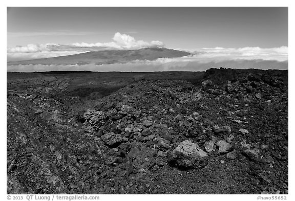 Vein of red and orange lava on Mauna Loa, Mauna Kea in background. Hawaii Volcanoes National Park (black and white)