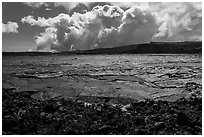 Mokuaweoweo crater and clouds, Mauna Loa. Hawaii Volcanoes National Park ( black and white)