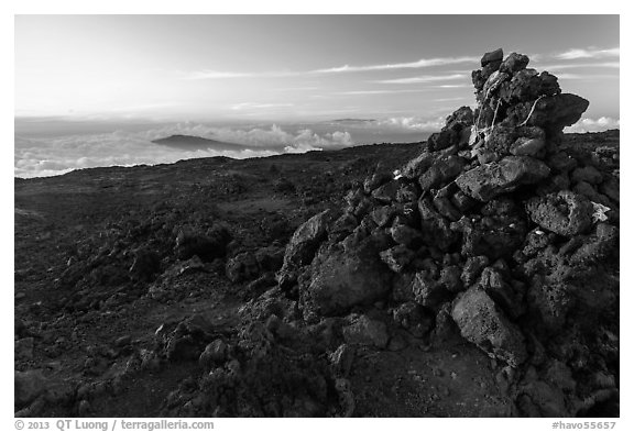 Summit cairn, Mauna Loa. Hawaii Volcanoes National Park (black and white)