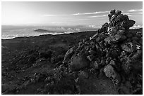 Summit cairn, Mauna Loa. Hawaii Volcanoes National Park, Hawaii, USA. (black and white)