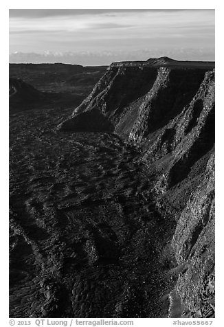 Tall cliffs seen from Mauna Loa summit. Hawaii Volcanoes National Park (black and white)