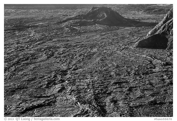 Hershey Kiss and  Mokuaweoweo crater floor. Hawaii Volcanoes National Park (black and white)