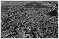 Hershey Kiss and  Mokuaweoweo crater floor. Hawaii Volcanoes National Park, Hawaii, USA. (black and white)