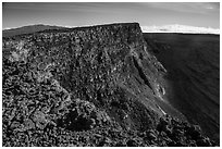 Mauna Kea, summit cliff, and Mokuaweoweo crater from top of Mauna Loa. Hawaii Volcanoes National Park ( black and white)