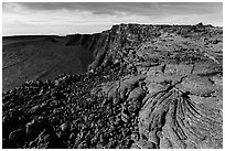 Lava and Mokuaweoweo caldera. Hawaii Volcanoes National Park, Hawaii, USA. (black and white)