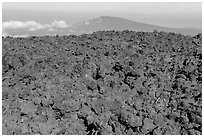 Aa lava field on Mauna Loa and Puu Waawaa summit. Hawaii Volcanoes National Park ( black and white)