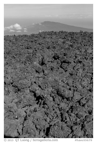 Field of rough aa lava on Mauna Loa summit and Puu Waawaa. Hawaii Volcanoes National Park (black and white)