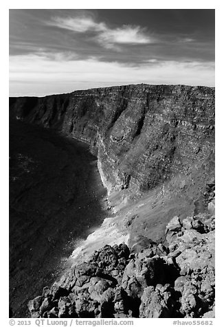Mauna Loa summit rising above  Mokuaweoweo crater. Hawaii Volcanoes National Park (black and white)