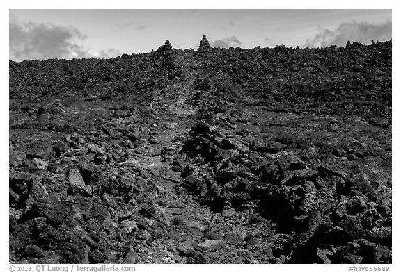 Well marked portion of Mauna Loa summit trail. Hawaii Volcanoes National Park (black and white)