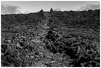 Well marked portion of Mauna Loa summit trail. Hawaii Volcanoes National Park ( black and white)