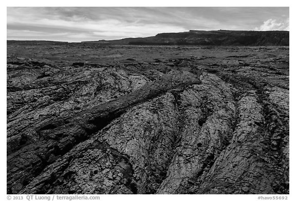 Olivine-rich lava and Mokuaweoweo crater, Mauna Loa North Pit. Hawaii Volcanoes National Park (black and white)