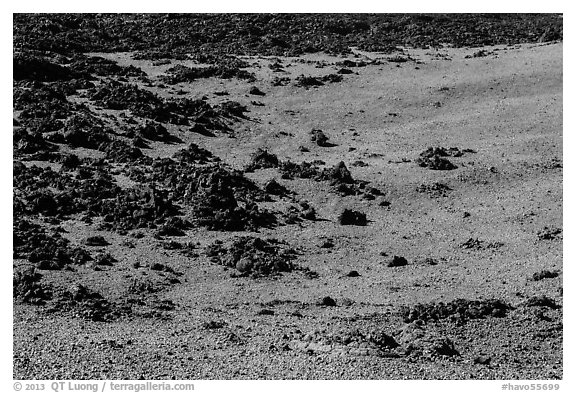 Olivine slopes and black aa lava. Hawaii Volcanoes National Park (black and white)