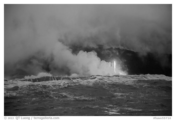 Lava flows creating huge clouds of hydrochloric steam upon meeting with ocean. Hawaii Volcanoes National Park (black and white)