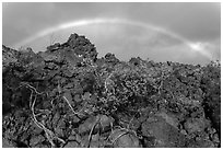 Rainbow over Kau desert. Hawaii Volcanoes National Park ( black and white)