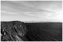 Mauna Loa summit cliffs, Mokuaweoweo crater at sunrise. Hawaii Volcanoes National Park, Hawaii, USA. (black and white)