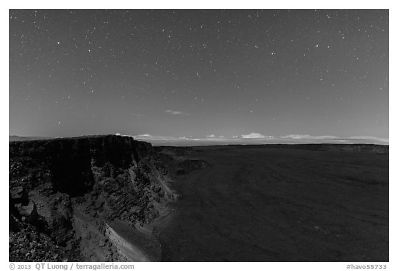 Mauna Loa summit cliffs, Mokuaweoweo crater moonlit at night. Hawaii Volcanoes National Park (black and white)