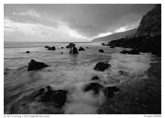 Surf and rocks, Siu Point, Tau Island. National Park of American Samoa (black and white)