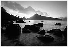 Sunrise from South Beach, Ofu Island. National Park of American Samoa (black and white)