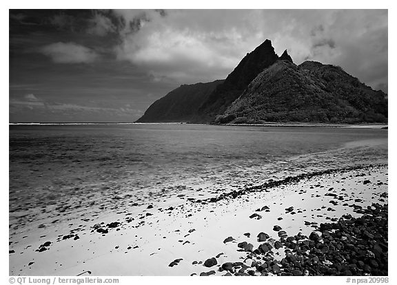 Sand beach and Ofu Island seen from Olosega. National Park of American Samoa (black and white)