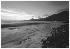 Vatia Bay at dawn, Tutuila Island. National Park of American Samoa ( black and white)