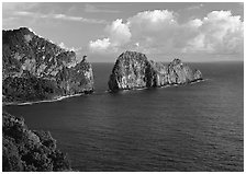 Pola Island and Vaiava Strait, early morning, Tutuila Island. National Park of American Samoa ( black and white)