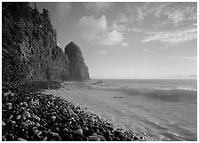 Beach with pebbles and Pola Island, early morning, Tutuila Island. National Park of American Samoa ( black and white)