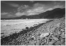 Beached coral heads and Vatia Bay, mid-day, Tutuila Island. National Park of American Samoa ( black and white)