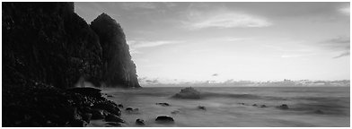 Towering sea cliff at dawn, Tutuila Island. National Park of American Samoa (Panoramic black and white)