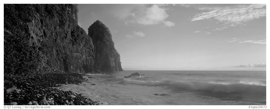 Coastline with tall seacliff, early morning, Tutuila Island. National Park of American Samoa (black and white)
