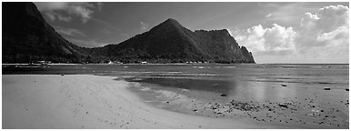 Sandy beach, Tutuila Island. National Park of American Samoa (Panoramic black and white)