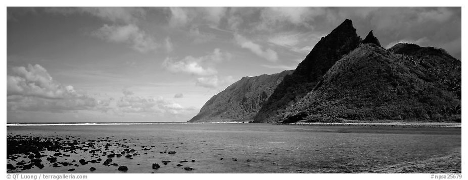 Pointed tropical peaks rising above turquoise waters, Ofu Island. National Park of American Samoa (black and white)