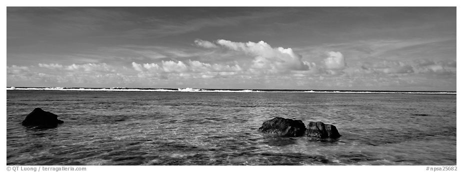 Reefs and tropical waters, Ofu Island. National Park of American Samoa (black and white)