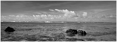 Reefs and tropical waters, Ofu Island. National Park of American Samoa (Panoramic black and white)