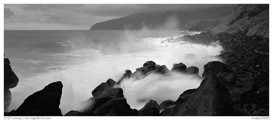 Shoreline with black rock pounded by strong surf, Tau Island. National Park of American Samoa (black and white)