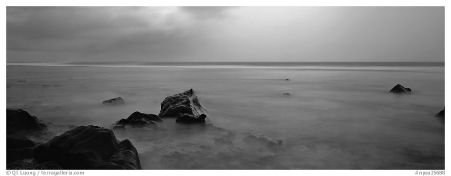 Seascape with storm light. National Park of American Samoa (black and white)