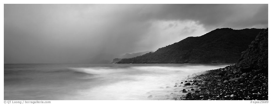 Seascape with storm clouds and foamy ocean, Tutuila Island. National Park of American Samoa (black and white)