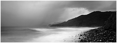 Seascape with storm clouds and foamy ocean, Tutuila Island. National Park of American Samoa (Panoramic black and white)