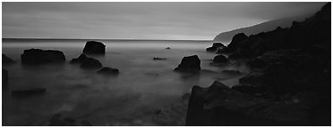 Rugged coastline at dusk. National Park of American Samoa (Panoramic black and white)