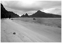 Fallen coconut on South Beach, Ofu Island. National Park of American Samoa ( black and white)