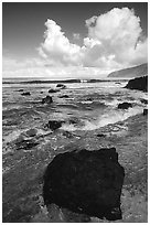 Coastline and boulders, Siu Point, morning, Tau Island. National Park of American Samoa (black and white)
