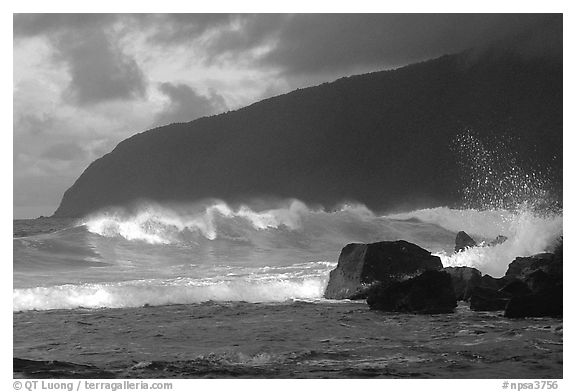 Surf and sea cliff, Siu Point, Tau Island. National Park of American Samoa (black and white)
