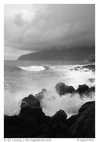 Stormy seascape with crashing waves and clouds, Siu Point, Tau Island. National Park of American Samoa (black and white)